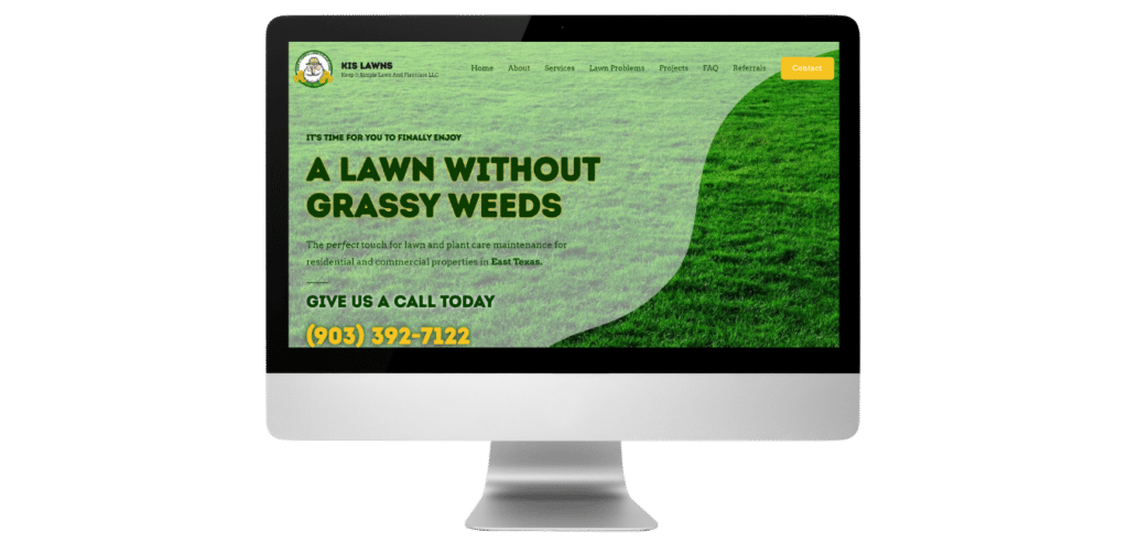 KIS Lawns Custom WordPress Website by Carpenter and Siren Co.